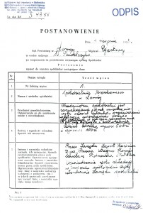 Odpis Rejestru - strona A